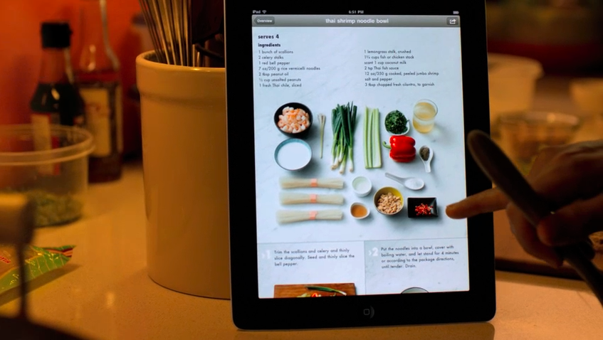 Apple marketing Kitchen iPad use image