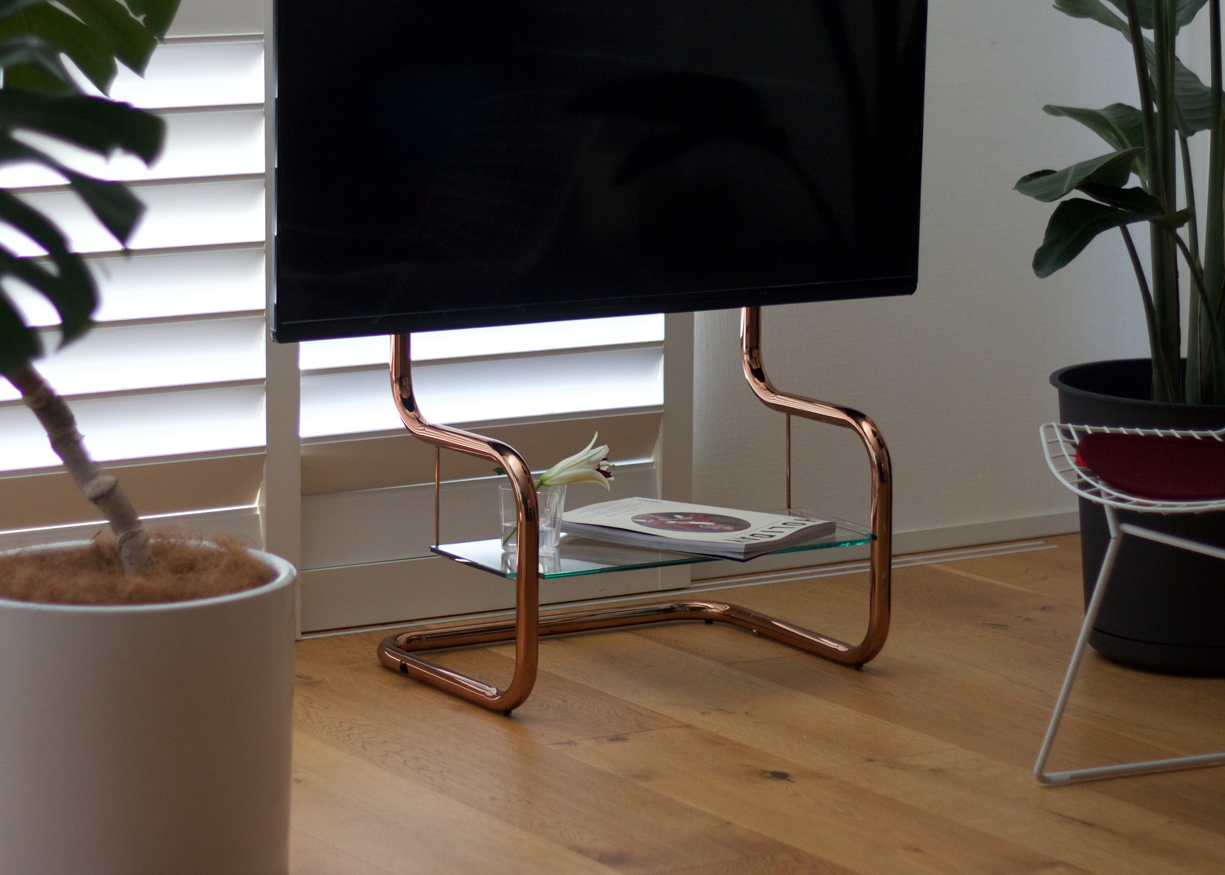 TV stand design simple modern copper pipe
