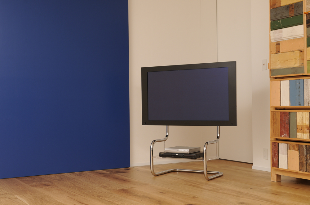 TV stand in simple design is sitting in modern interior