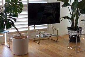 FSM フロアスタンドメタル 壁寄せテレビスタンド ブラス ゴールド