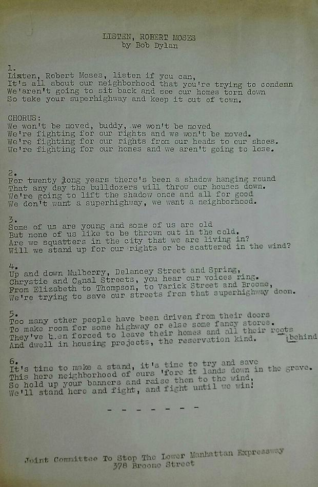 listen Robert Moses ボブ・ディラン